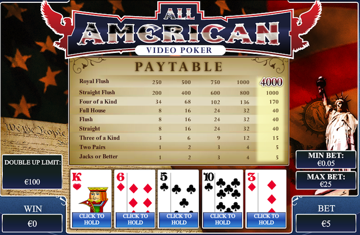 Play All American Poker